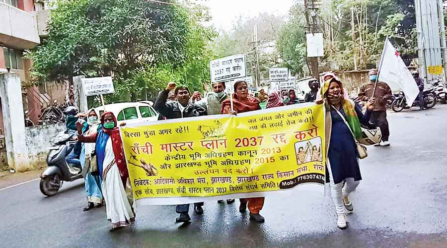 Protesters march to the Ranchi Municipal Corporation office on Tuesday