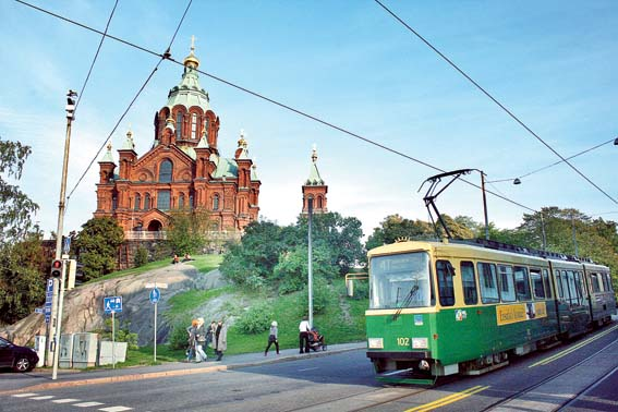 Both the Uspenski Cathedral as well as the yellow-and-green streetcar are Helsinki icons