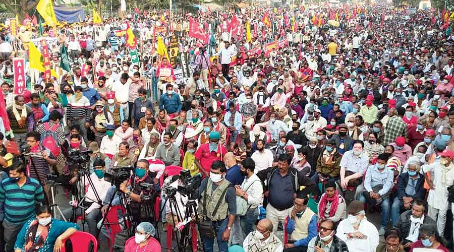 The rally in Calcutta on Wednesday against the new agriculture laws