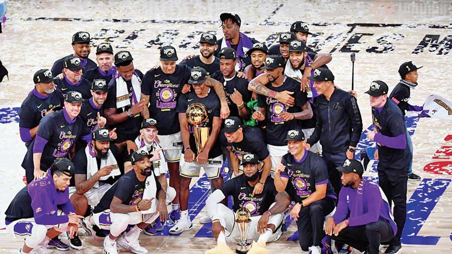 The Los Angeles Lakers with the trophy after winning the 2020 NBA Championship on October 11