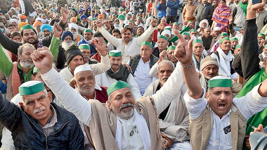 Khap leaders during the farmers' protest at the Ghazipur border in Ghaziabad on Thursday.
