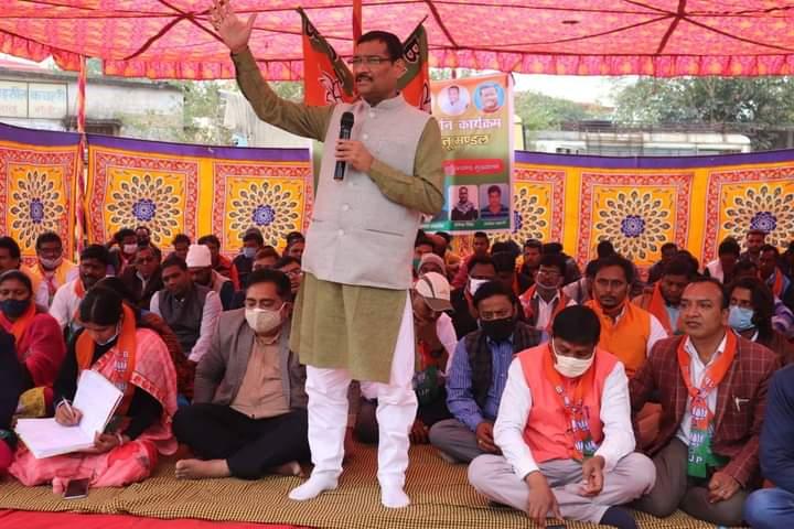 State BJP president and Rajya Sabha MP Deepak Prakash along with party workers during a demonstration in Ranchi on December 16 as part of statewide stir demanding panchayat polls.