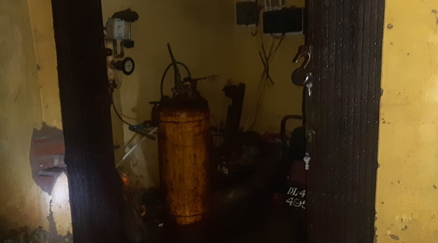 The leaked cylinder in Hazaribagh on Friday.