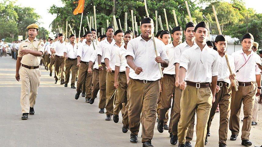 A rally by RSS members.