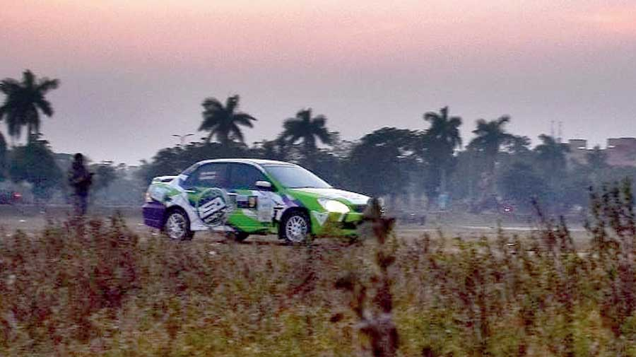 A car participating in the Monsoon Rally