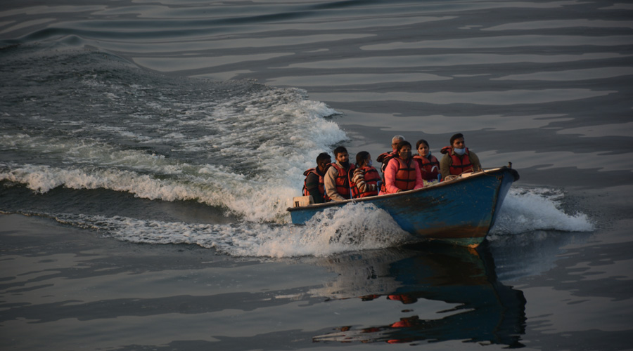 Visitors at the scenic Dimna lake on the outskirts of Jamshedpur on Monday.