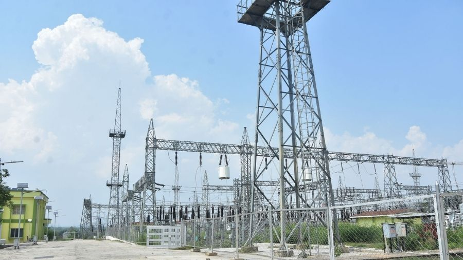 The Jharkhand Urja Sancharan Nigan Limited's 220/132/33KV Grid Substation at Kandra in Govindpur, Dhanbad, on Tuesday.