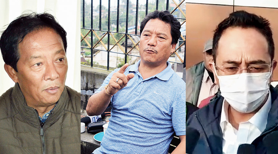 (From left) Binay Tamang, Bimal Gurung; and (in picture by Passang Yolmo) Mann Ghisingh at Bagodgra airport on Wednesday
