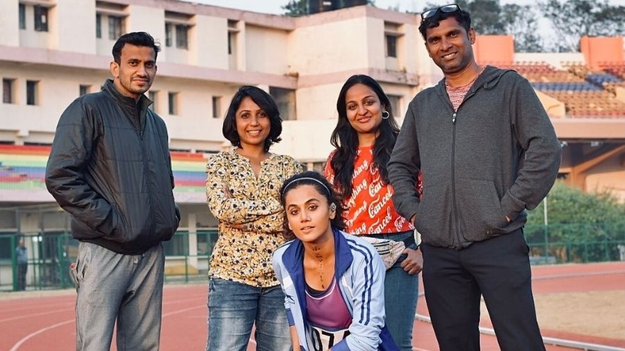Taapsee Pannu with the crew members of Rashmi Rocket on Thursday.