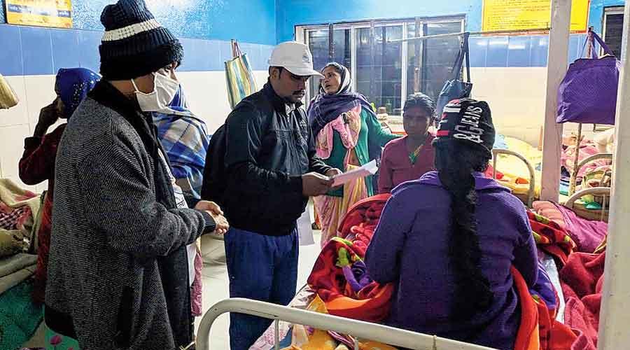 BDO Prasanta Burman (extreme left) at the primary health centre in Latabari of Alipurduar on Wednesday.