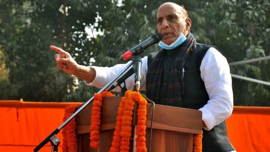 Union Defence Minister Rajnath Singh addresses a rally at Dwarka in Delhi on Friday.