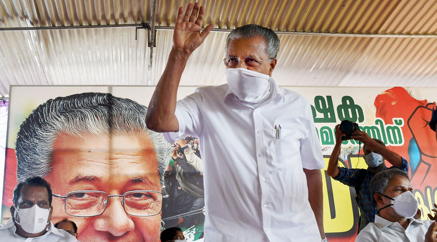 Kerala Chief Minister Pinarayi Vijayan during a protest meet in solidarity with farmers protesting in New Delhi against the Centre's new farm laws in Thiruvananthapuram on Wednesday, Dec. 23, 2020.