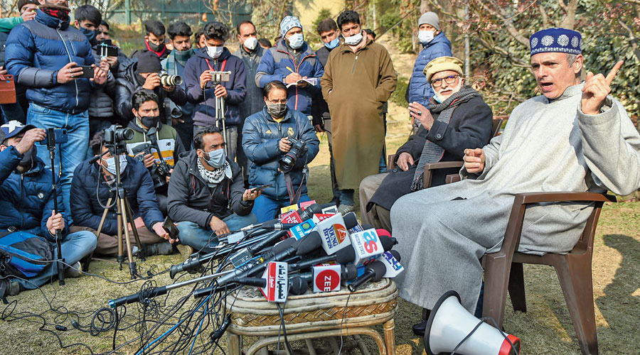 National Conference vice-president Omar Abdullah addresses the media in Srinagar on Saturday.