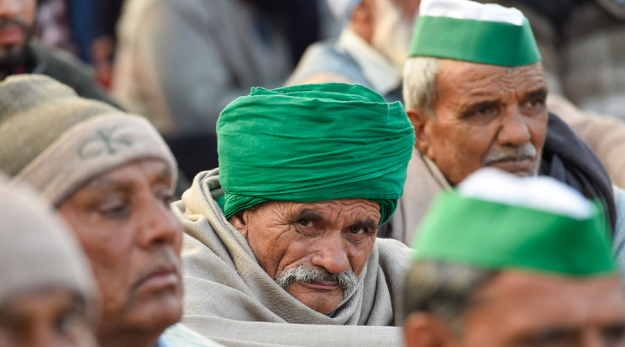 Farmers during Delhi Chalo protest march against the new farm laws, at Ghazipur border in New Delhi on Saturday, Dec. 26, 2020.