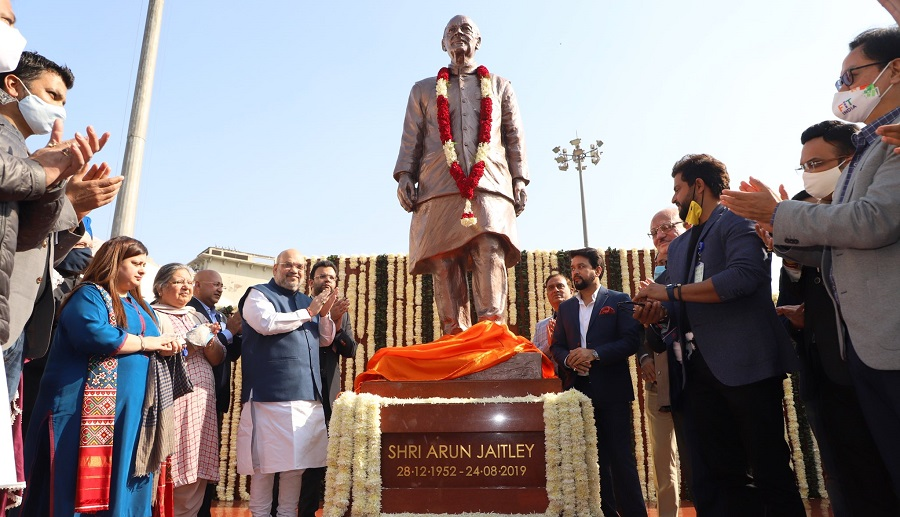 Jaitley's life-size statue has been prepared by 96-year-old renowned sculptor Ram Sutar, the man behind the making of the iconic Statue of Unity in Gujarat.