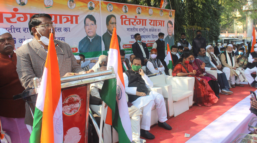 Finance minister and state Congress chief Rameshwar Oraon addresses a gathering on the party's foundation day in Ranchi on Monday.