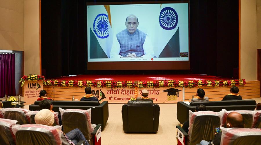 Defence minister Rajnath Singh addresses the IIM-Ranchi convocation virtually on Monday.