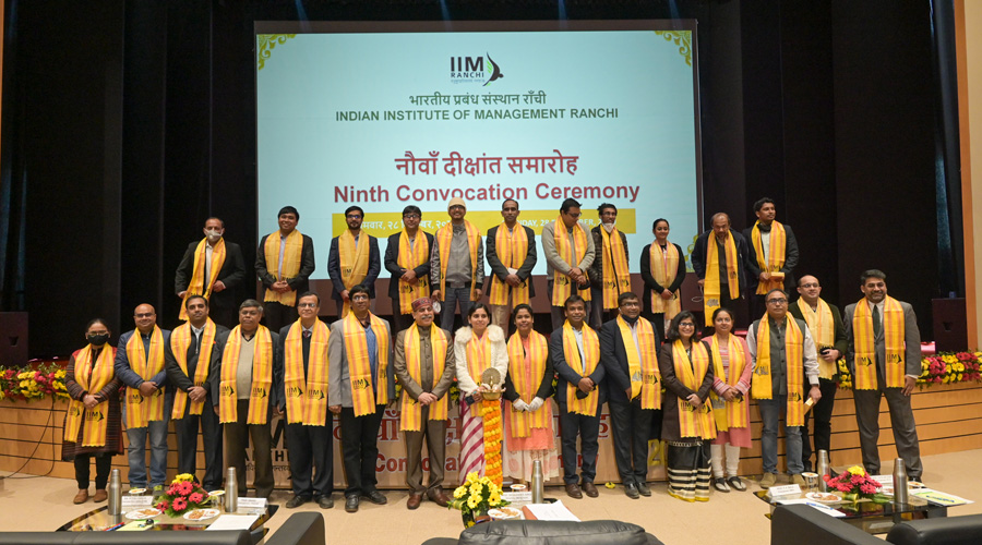The new graduates along with faculty and officials of IIM-Ranchi at its convocation in the state capital on Monday.