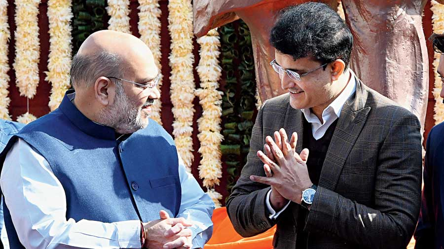 Home minister Amit Shah with BCCI president Sourav Ganguly at the Kotla on Monday.