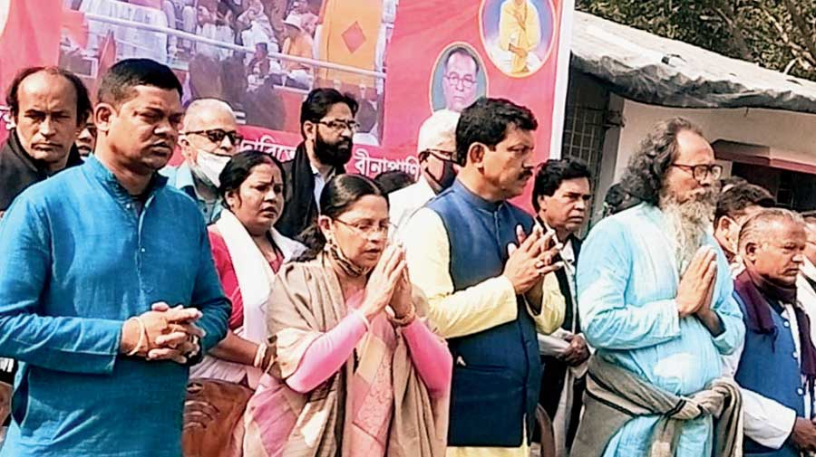 Mamatabala Thakur and other Matua leaders during the launch of the movement in Thakurnagar on Monday.