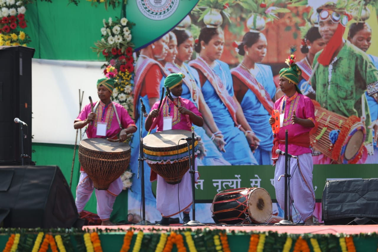 Performers beat their traditional drums at the government function at the Morabadi Stadium in Ranchi, on Tuesday.