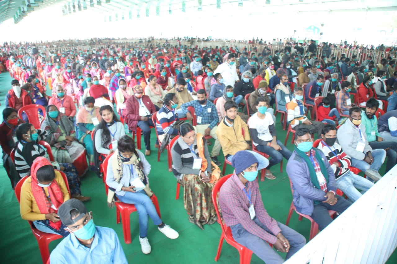 Audience at the government's grand programme organised to mark its first year in the state, at the Morabadi Stadiumin Ranchi, on Tuesday.