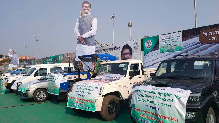 Giant cut-outs of chief minister Hemant Soren at Morabadi Ground in Ranchi on Tuesday.
