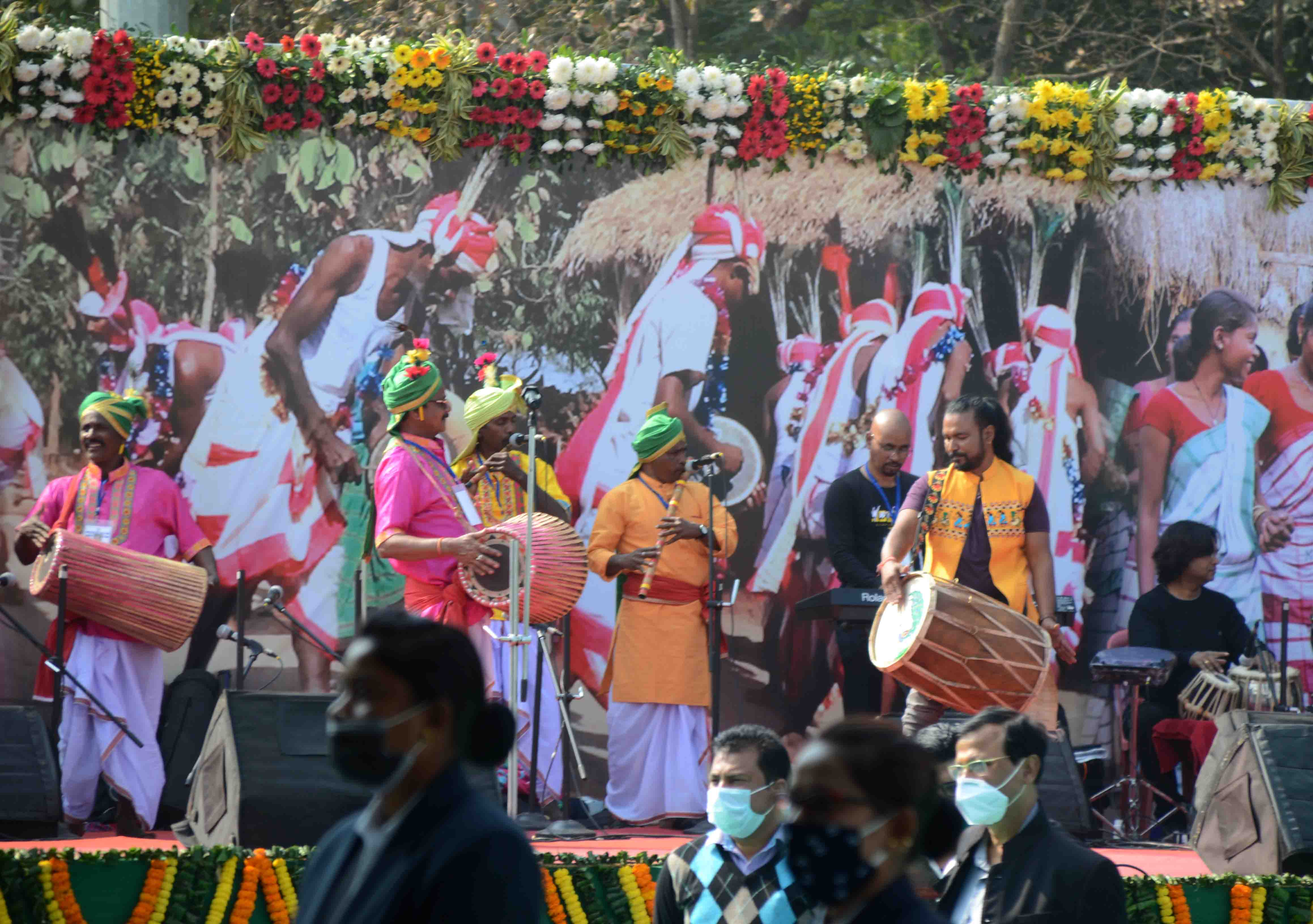 A cultural programme being held at the start of the anniversary function at Morabadi Ground in Ranchi on Tuesday.