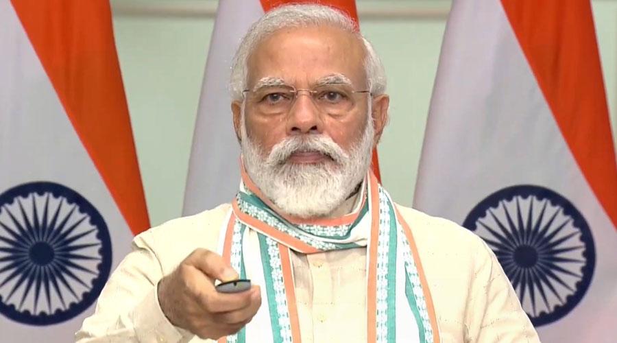 Prime Minister Narendra Modi addresses the launch in New Delhi, Friday, June 26, 2020.