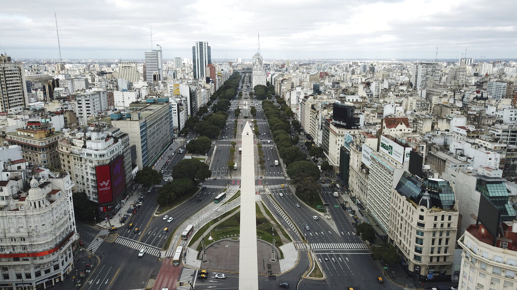 The 9 de Julio Boulevard is seen almost devoid of traffic during the return to a strict lockdown to curb the spread of Covid-19 in Buenos Aires, Argentina, Wednesday, July 1, 2020. Authorities returned to tighter restrictions in the capital after Covid-19 cases spiked.