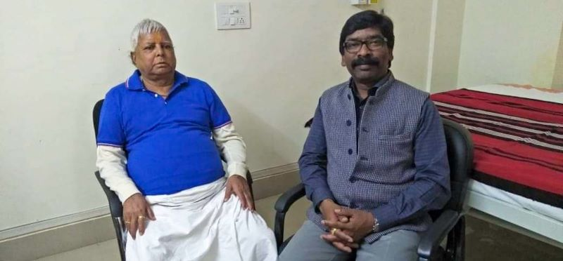 RJD chief Lalu Prasad with chief minister Hemant Soren at RIMS in Ranchi