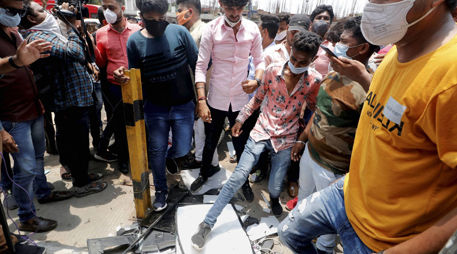 upporters of Karni Sena smash Chinese products during a protest against China, in Ahmedabad, Wednesday, July 01, 2020.
