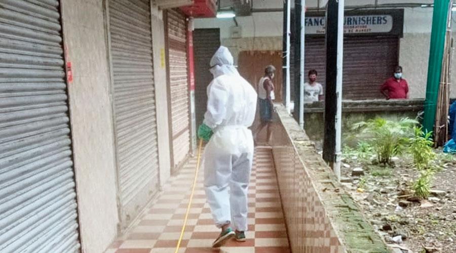 EC Market being sanitised.