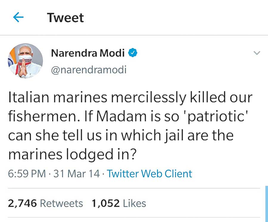 Modi's tweet on March 31, 2014