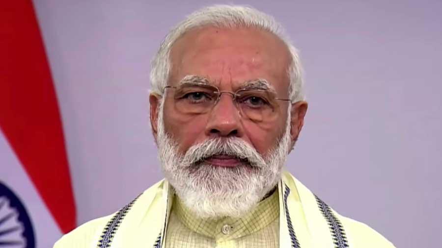 Prime Minister Narendra Modi speaks during a televised address to the nation in New Delhi June 30, 2020.