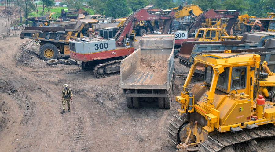 Stranded vehicles near a site at Godhra mines during coal strike against the privatisation of coal mines in Dhanbad on Thursday.