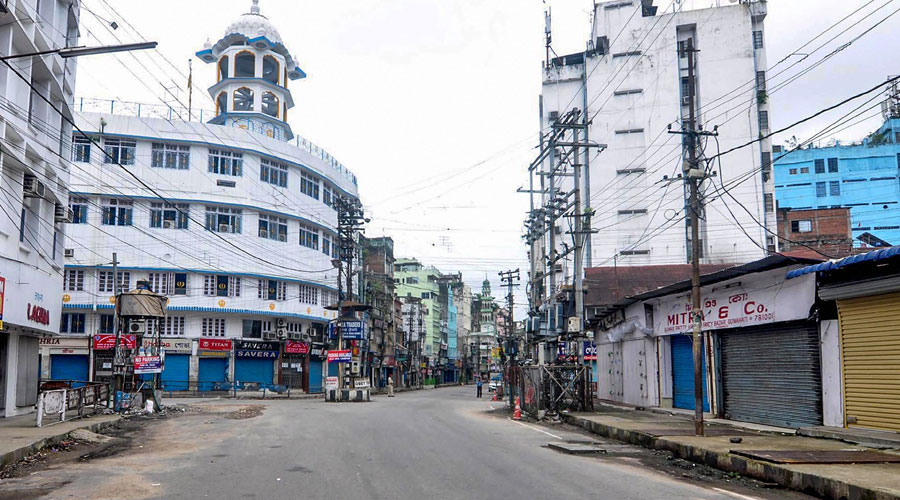 Fancy Bazar during the lockdown imposed by the Assam government to curb the spread of the coronavirus in Guwahati on Thursday