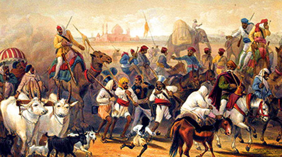 From 'The Campaign in India 1857-58', a series of 26 coloured lithographs by William Simpson, E Walker and others, 1857-1858.