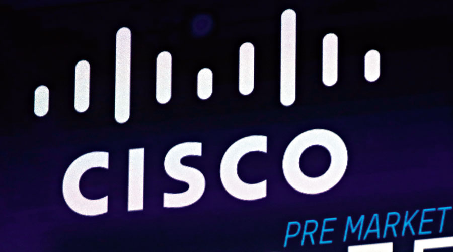 The Cisco logo appears on a screen at the Nasdaq MarketSite in New York's Times Square.