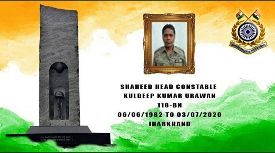 The CRPF's post in memory of Kuldeep Oraon on its twitter handle