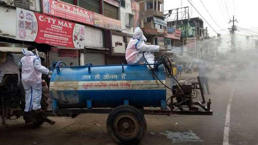 Sanitisation of Jhanda Chowk in Koderma on Friday