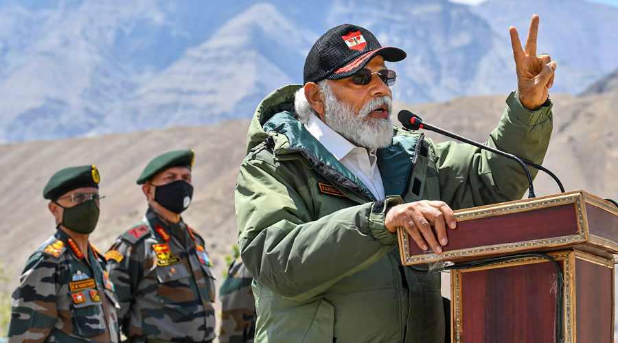 Prime Minister Narendra Modi addresses troops during his visit to Nimu in Ladakh on Friday
