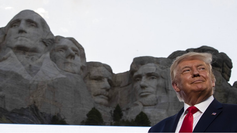 President Donald Trump smiles at Mount Rushmore National Memorial, Friday, July 3, 2020, near Keystone, South Dakota