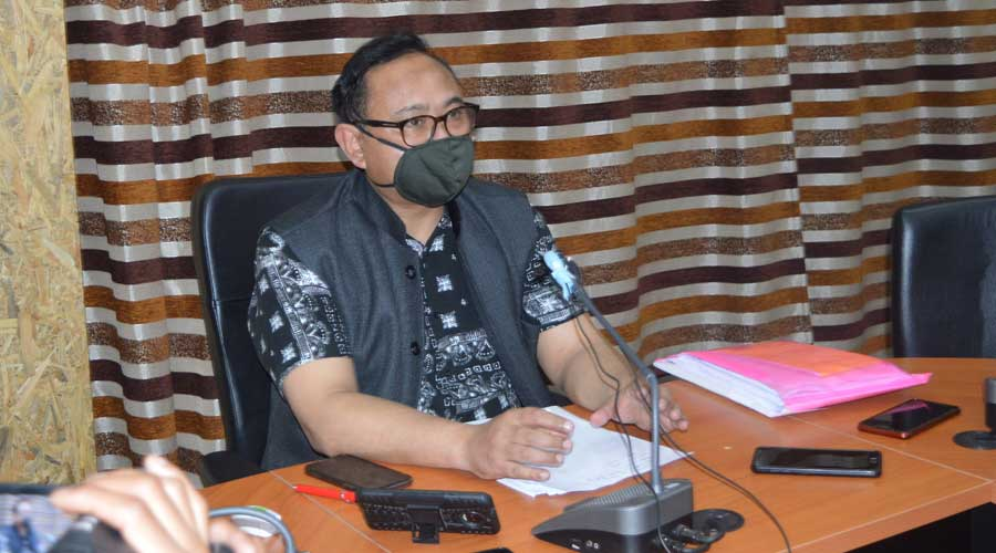 Meghalaya director of health services Dr Aman Warr addresses a news conference on Saturday in Shillong