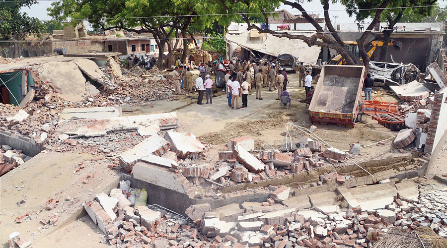Debris of gangster Vikas Dubey's house in Kanpur that was demolished on Saturday.