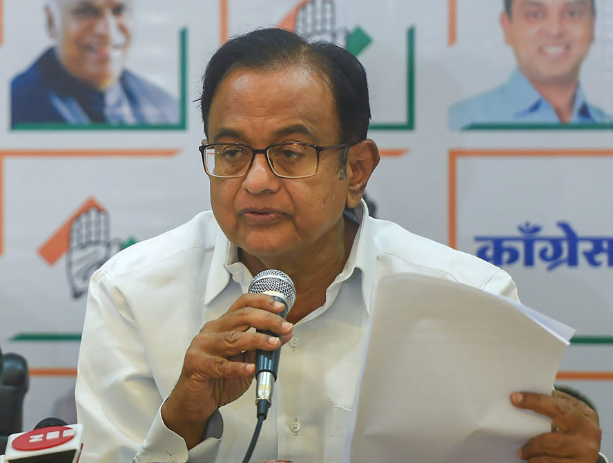 Senior Congress leader P. Chidambaram