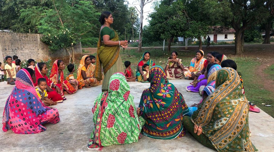 Jamuna Tudu addresses members of the Van Suraksha Samity in Chakulia