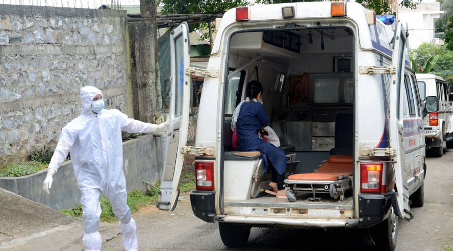 A suspected Covid-19 woman being taken to a hospital to curb the spread of the novel coronavirus in Guwahati on Saturday.