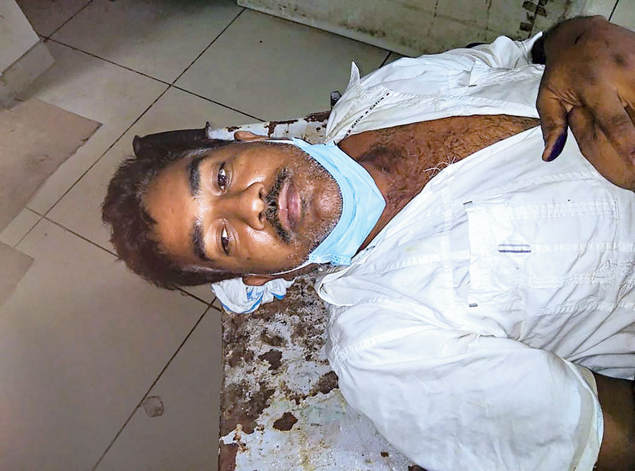 Daya Shankar Agnihotri at a hospital after being arrested in Kanpur on Sunday.