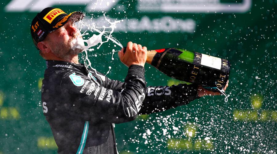 Valtteri Bottas of Mercedes celebrates after winning the season-opening Austrian GP in Spielberg on Sunday.